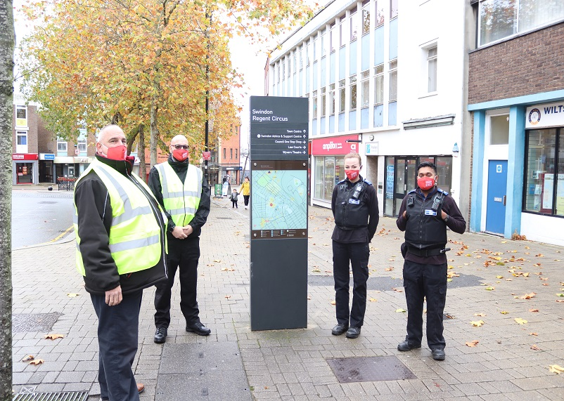 Covid safety marshals in the town centre with Police Community Support Officers