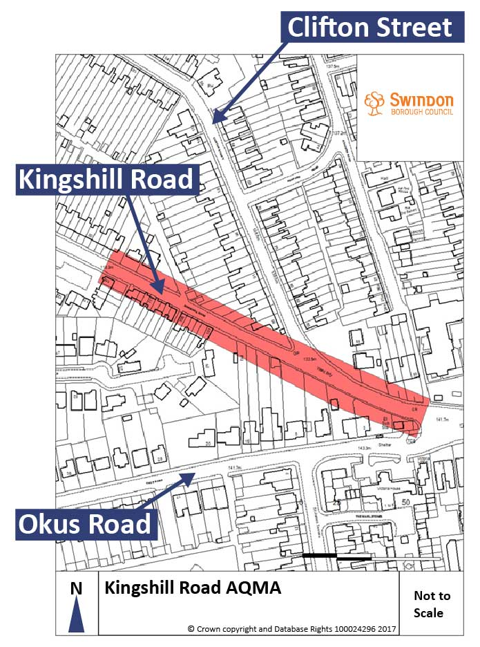 Map showing the Kingshill Road air quality management area