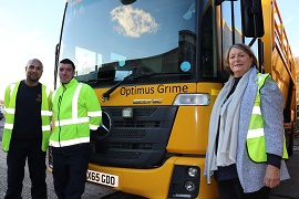 Cllr Maureen Penny with one of the recycling lorries