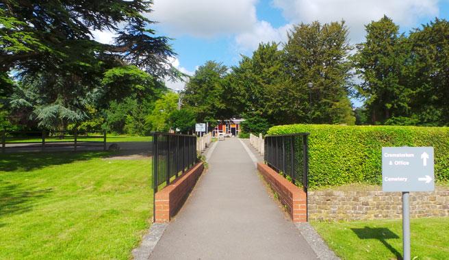 Entrance to the chapel at Kingsdown crematorium