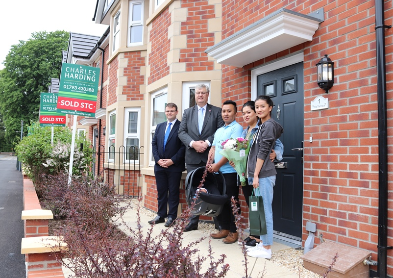 The first owners of Euclid Terrace property, the Gurung family, with Cllr Renard and Cllr Holland