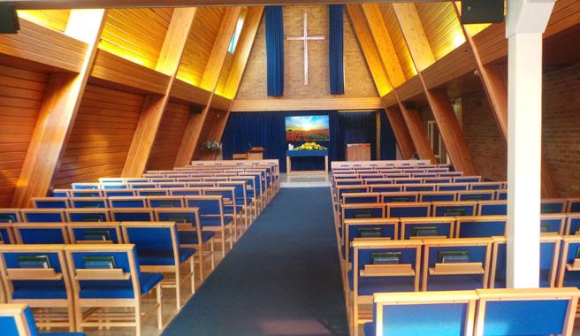 Inside the chapel at Kingsdown crematorium