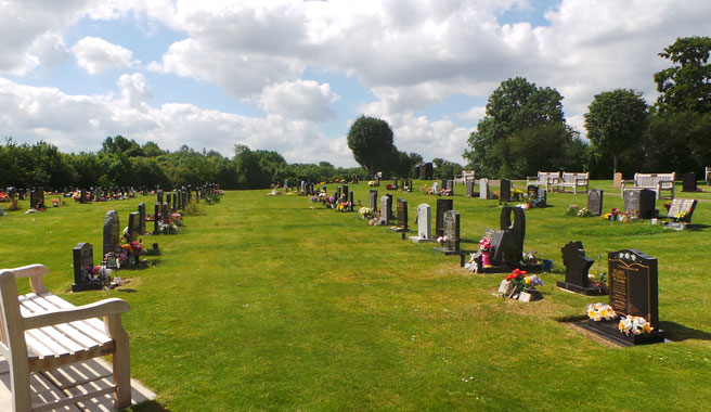 Lawn grave section at Kingsdown cemetery