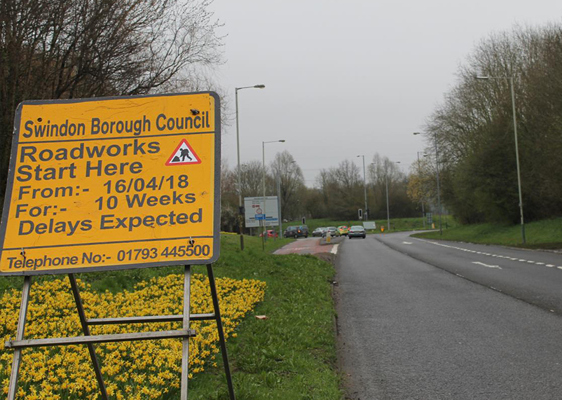 Warning sign of roadworks on approach to Mannington Roundabout