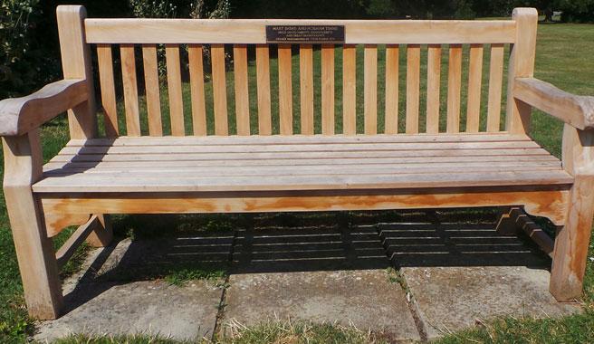 Memorial bench plaque  at Kingsdown cemetery