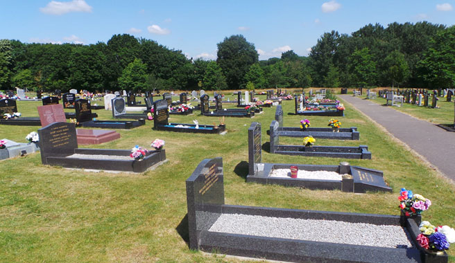 Traditional grave section at Kingsdown cemetery