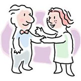 man and woman shaking hands cartoon