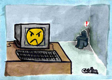 angry computer screen cartoon